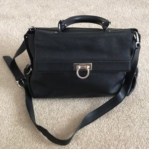 Salvatore Ferragamo Leather Sofia Satchel Black